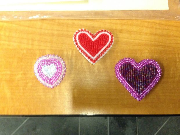A few of the Beaded hearts that were for sale at the ILSA Beaded heart, bannock and bake sale that was very successful in raising funds for the Downtown Eastside Women's Centre.